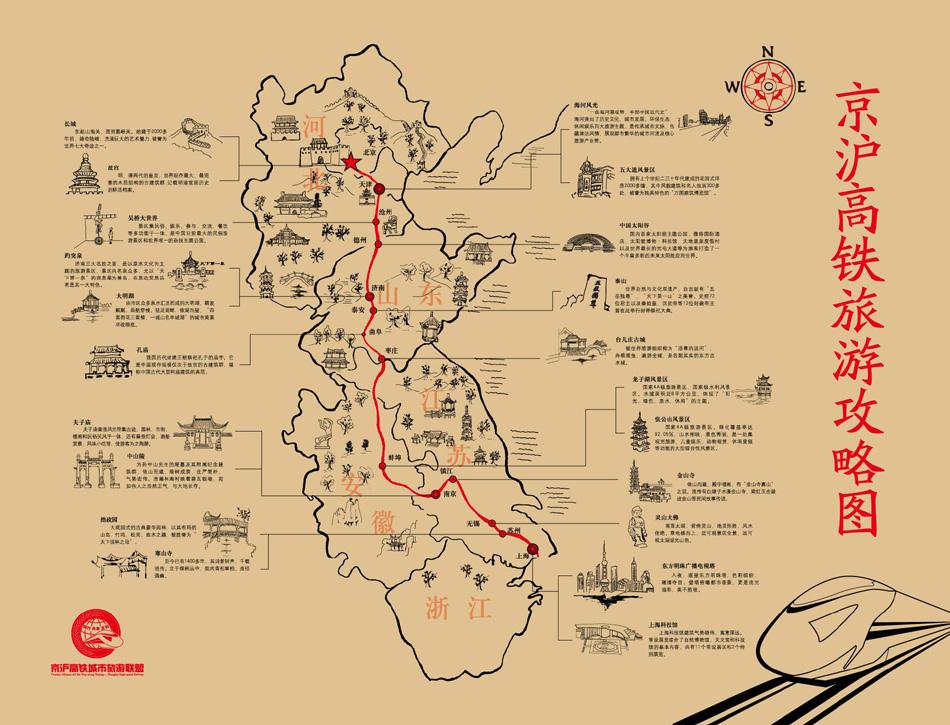 京沪高铁旅游攻略图
