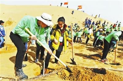 中韩大学生志愿者在内蒙沙漠植树千余棵